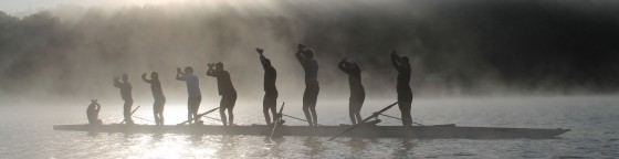 Rowers on a Foggy Morning